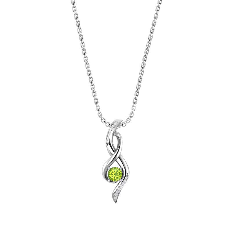 Silver Infinity Necklace with Peridot