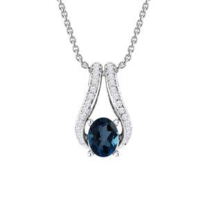 Oval-cut London Blue Topaz pendant