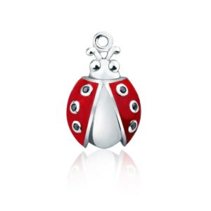 Ladybug Charm with Red Wings | Sterling Silver Ladybug Charms