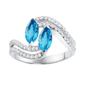 Sterling Silver Ring for Women with Marquise cut Swiss Blue Topaz