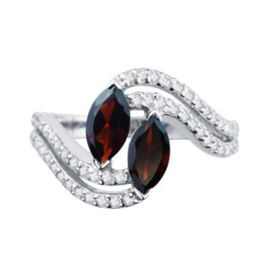 Express desire to be together ring with two Red Garnet RSR 0549