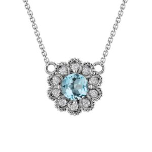 Sterling Silver Sky Blue Topaz Flower Necklace surrounded by White Topaz