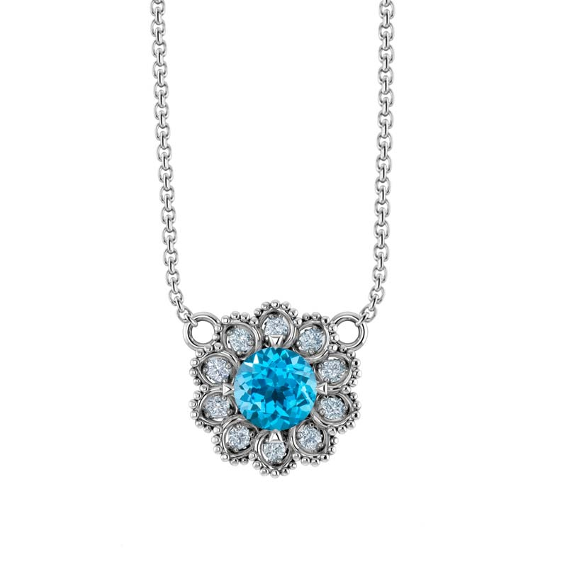 Sterling Silver Flower Necklace set with Swiss Blue Topaz