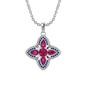 Quartet Necklace with Ruby and Sapphire