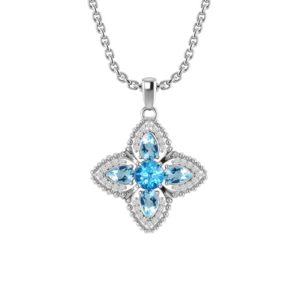 Quartet Necklace with Swiss Blue Topaz and White Topaz
