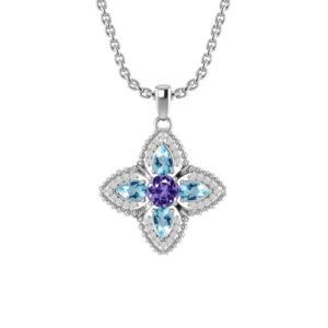 Quartet Necklace with Amethyst and Sky Blue Topaz