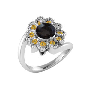 Sterling Silver flower ring with smoky quartz and citrine RSR-0523