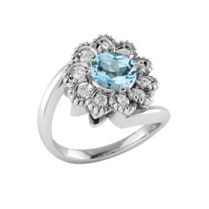Sterling Silver flower ring with Sky Blue Topaz RSR-0523