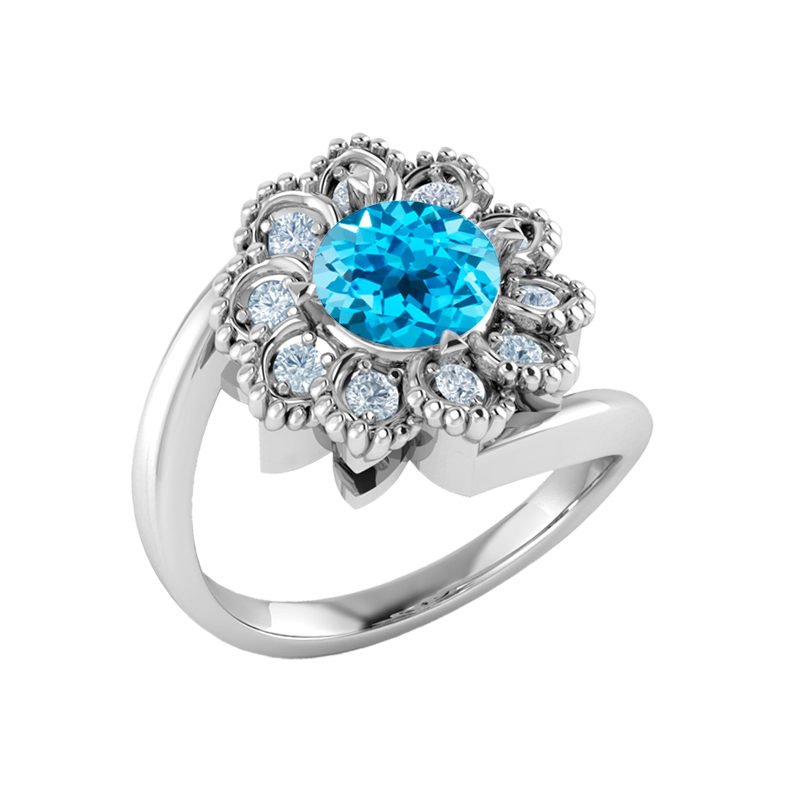 Sterling Silver flower ring with Swiss Blue Topaz RSR-0523