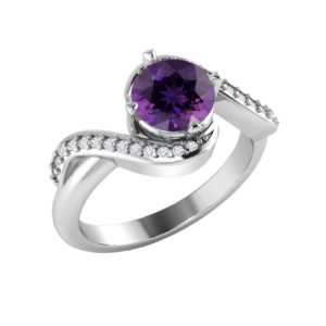 Sterling Silver Amethyst ring with White Topaz in pave setting