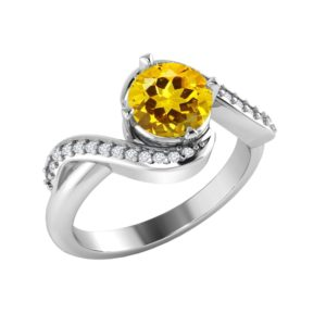 Sterling Silver Citrine ring with White Topaz in pave setting