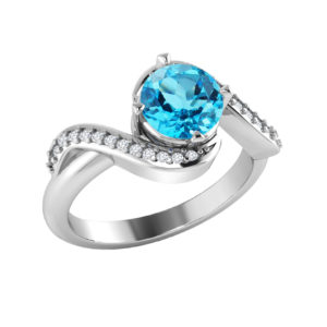 Sterling Silver Swiss Blue Topaz ring with White Topaz in pave setting