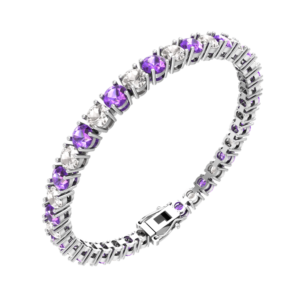 Amethyst and White Topaz Tennis Bracelet