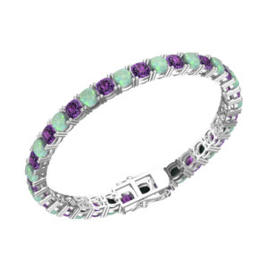 Created Opal and Amethyst Tennis Bracelet in Solid Sterling Silver