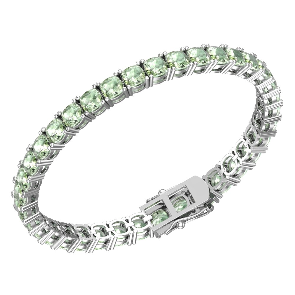 Green Amethyst Tennis Bracelet Sterling Silver Tennis