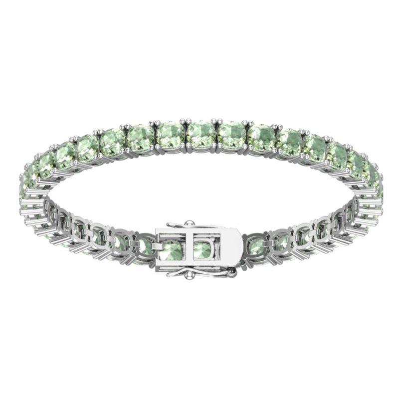 Sterling Silver 14 CTTW Green Amethyst Tennis Bracelet