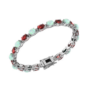 Garnet and Created Opal Tennis Bracelet in Solid Sterling Silver RSB 0034