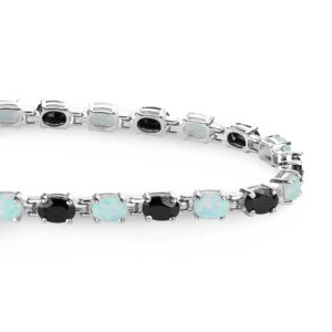 onyx and created opal tennis bracelet