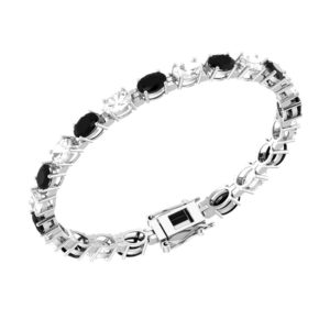 Onyx and White Topaz Tennis Bracelet in Sterling Silver