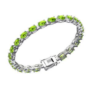 Sterling Silver Natural Peridot 6x4mm Tennis Bracelet