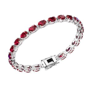 Sterling Silver Lab-grown Ruby Tennis Bracelet in Solid Sterling Silver rsb 0034