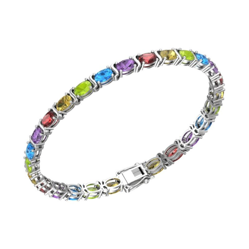 Multi Gemstone Tennis Bracelet in Solid Sterling Silver