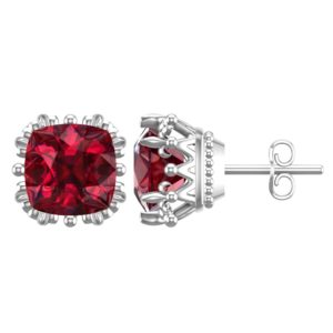 Solid Sterling Silver 7mm Special Cut 3.3carats Lab-Grown Ruby Earrings