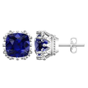 Sterling Silver 7mm Special 3 Carats Lab-Grown Sapphire Earrings