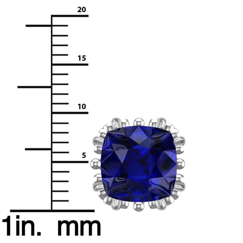 Sterling Silver 7mm Special 3.6Carats Lab-Grown Sapphire Earrings