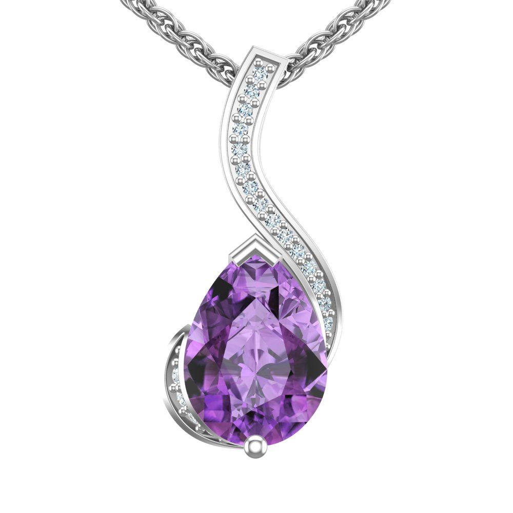 Sterling silver pear shaped 2 ct amethyst pendant 18 singapore chain aloadofball Images