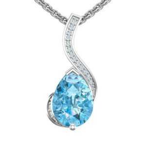 "Sterling Silver Pear Shaped 2 Ct Sky Blue Topaz Pendant 18"" Singapore Chain"