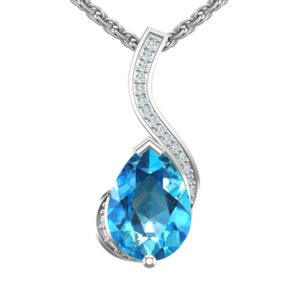 """Sterling Silver Pear Shaped 2 Ct. Swiss Blue Topaz Pendant 18"""" Singapore Chain"""