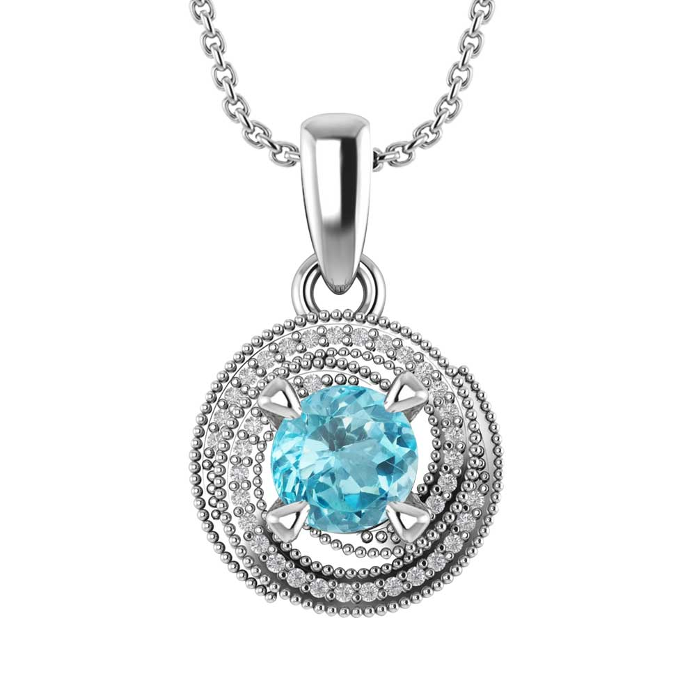 Sterling Silver Whirl Necklace In Sky Blue Topaz With 18