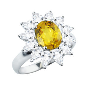 Sterling Silver Soleil Ring in Citrine and White Topaz