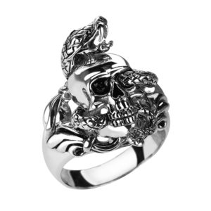 Serpentine Skull Ring Made Out of Solid Sterling Silver