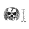 Sterling Silver Feathered Skull Ring with Evil Grin