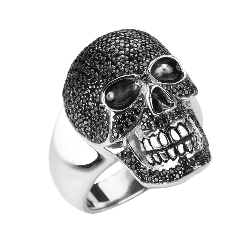 Sterling Silver Glittering Skull Ring with Anniversary, Birthday and Father's Day