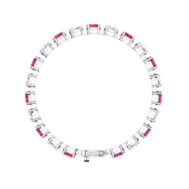 White Topaz and Lab-grown Ruby Tennis Bracelet