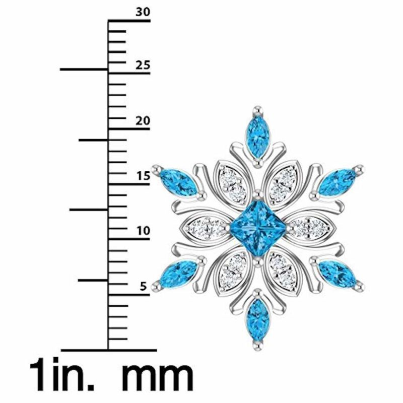 Solid Sterling Silver Shimmering Snowflake Necklace with Swiss Blue and White Topaz