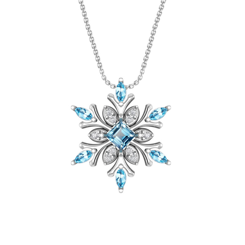 snowflake necklace in swiss blue topaz and white topaz