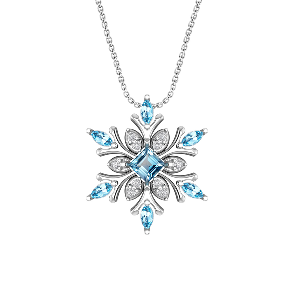 topaz products blue sterling pendant silver snowflake necklace product treasure fan image