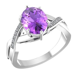 RSR 0155 Amethyst ring with diamond