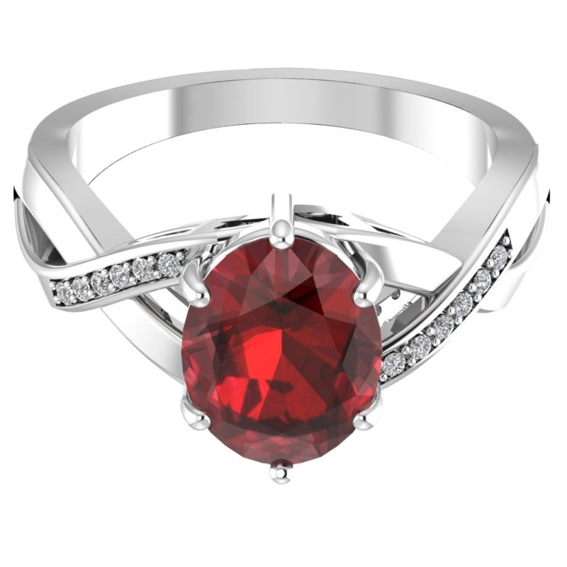 RSR 0155 Garnet ring with diamonds