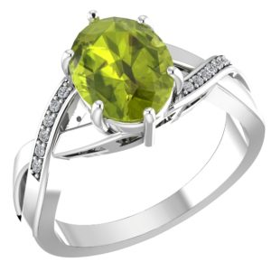 RSR 0155 Peridot ring with diamonds