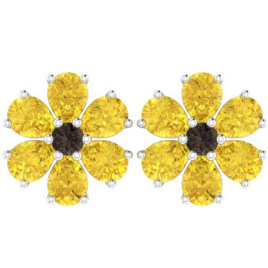 Citrine Birthstone Flower Earring