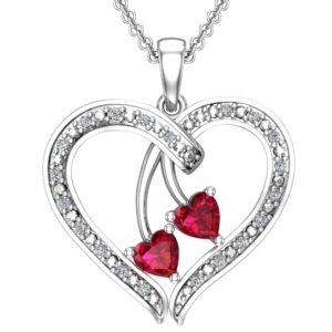 Sparkling Heart Shaped Red Cherry Sterling Necklace for Your Loved One