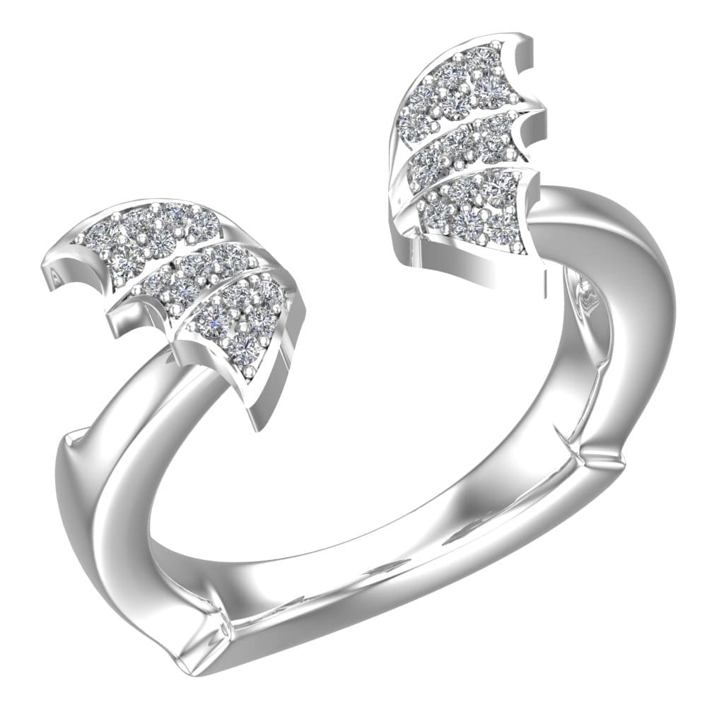 Charming and cute butterfly ring in Sterling set with White cubic zirconia RSR-0494