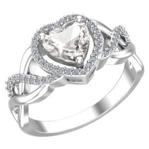 Elegant Sterling Silver Heart Ring in Natural White Topaz Stones