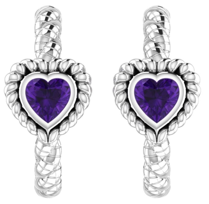 brass earrings with heart shaped amethyst perfect for valentines