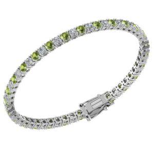 Elegant Sterling Silver Peridot & White Topaz Tennis Bracelet